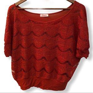 VIVACE Rust Off-Shoulder Cropped Dolman Sweater S